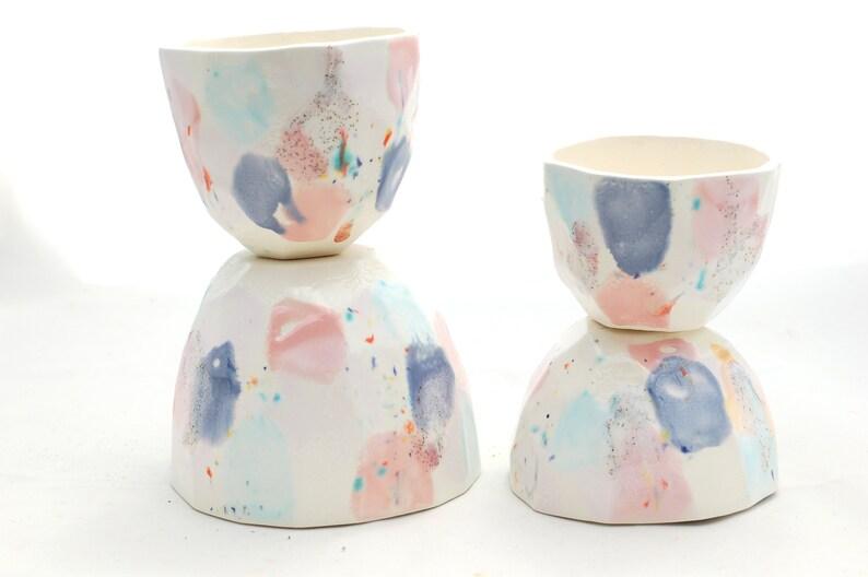 Handmade Planter Succulent Planter Modern Ceramics Faceted Desk or Kitchen Planter in Dreamy Pastel Glazes