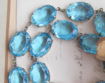 Aqua statement necklace, georgian collet, aquamarine necklace,  Anna Wintour necklace, blue statement necklaces, Edwardian jewelry, paste.