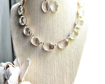 """Anna Wintour collet necklace, clear Statement necklace, collet, gold golden set statement necklace Georgian necklace. """"On a Clear Day""""."""