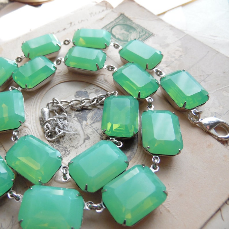 Anna Wintour necklace Chalcedony edwardian jewelry light green statement necklace collet necklace sea foam green necklace