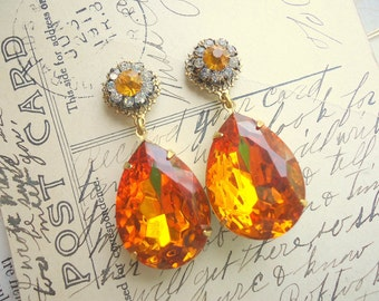 Sale Today. Citrine. Vintage Assemblage Earrings. One of a Kind.