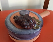 Vintage Signed Studio Pottery Lidded Handle Dish Grapes