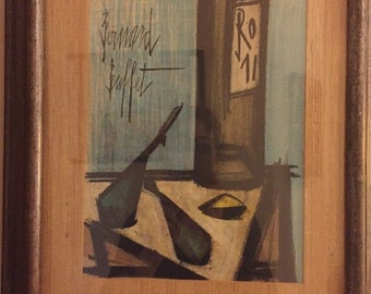 Bernard Buffet Blue STILL LIFE 1960s Wall Art Lithograph Framed With COA