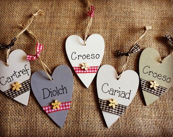 Wooden Welsh decorative gift hearts shabby chic thank you gifts
