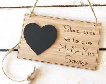 Oak Wedding Countdown Plaque Sign Personalised Chalkboard Mr & Mrs Engagement Gift
