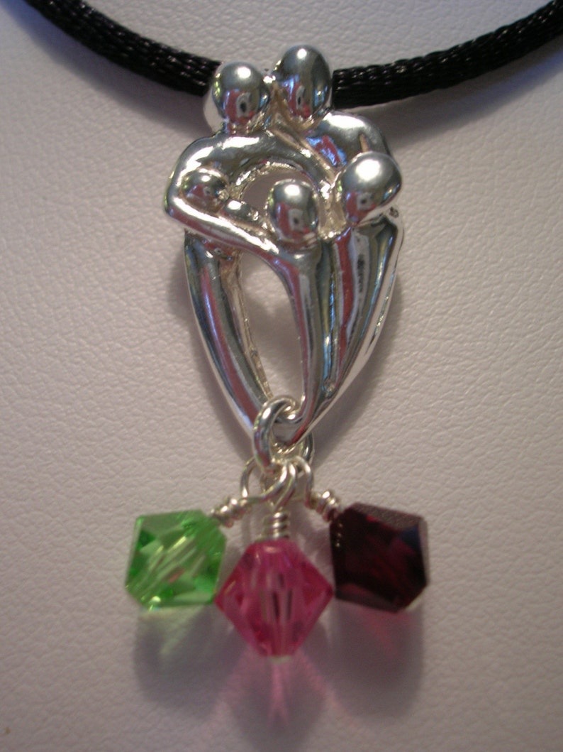 Sterling Silver Mothers Pendant  Three Children image 0