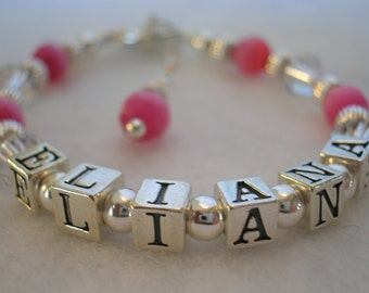 Swarovski Crystal and Sterling Silver Childrens Name Bracelet