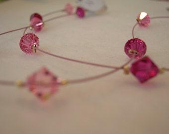 Romantic Pinks Swarovski Crystal Satellite Necklace