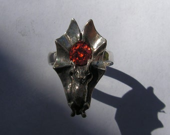 Bat Ring With Fire Citrine In Sterling Silver