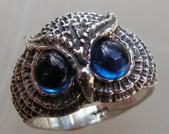 Sterling Silver Owl Ring With Siberian Blue Eyes