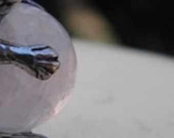 Sterling Silver Kangaroo Pendant With Rose Quartz
