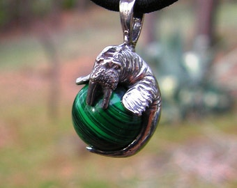 Walrus Pendant Malachite With Sterling Silver