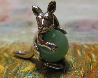 Sterling Silver Kangaroo Pendant With Aventurine