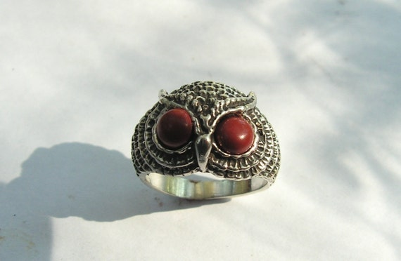 Owl Ring With Red Jasper Eyes In Sterling Silver
