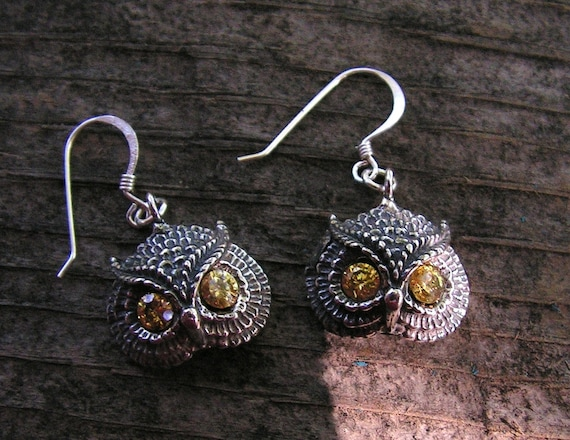 Owl Earrings With Citrine Eyes In Sterling Silver