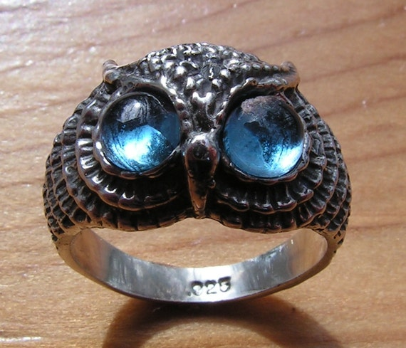 Owl Ring With Aqua Aura Eyes In Sterling Silver