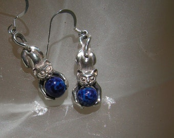 Sterling Silver Stretching Kitten Earrings With Lapis Lazuli