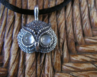 Sterling Silver Owl Pendant With Moonstone Eyes