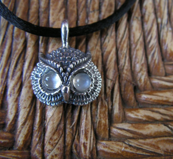 Owl Pendant With Moonstone Eyes And Sterling Silver