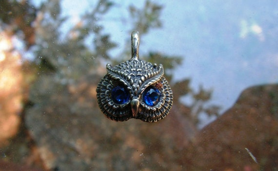 Owl Pendant With Sapphire Eyes In Sterling Silver