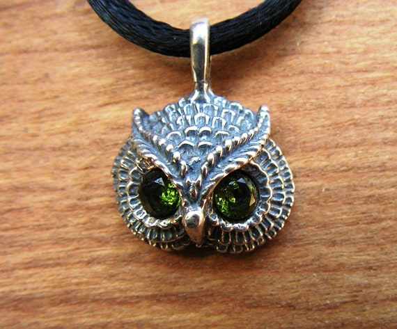 Owl Pendant With Peridot Eyes In Sterling Silver