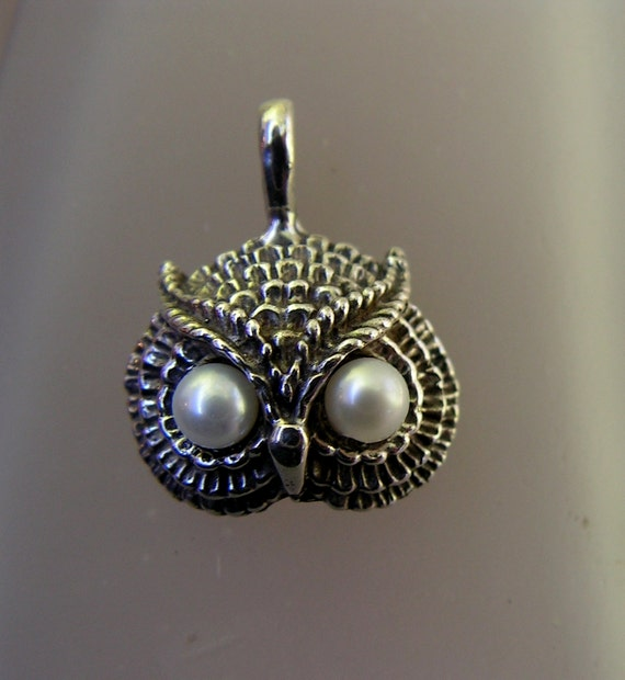 Owl Pendant With Pearl Eyes In Sterling Silver