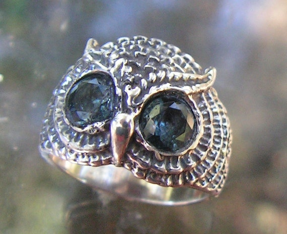 Owl Ring With Aquamarine Eyes In Sterling Silver In Sterling Silver