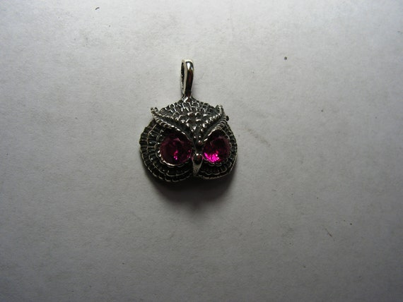 Owl Pendant With Ruby Eyes in Sterling Silver