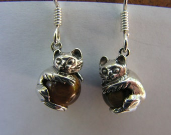 Sterling Silver Kitten Earrings With Tiger Eye