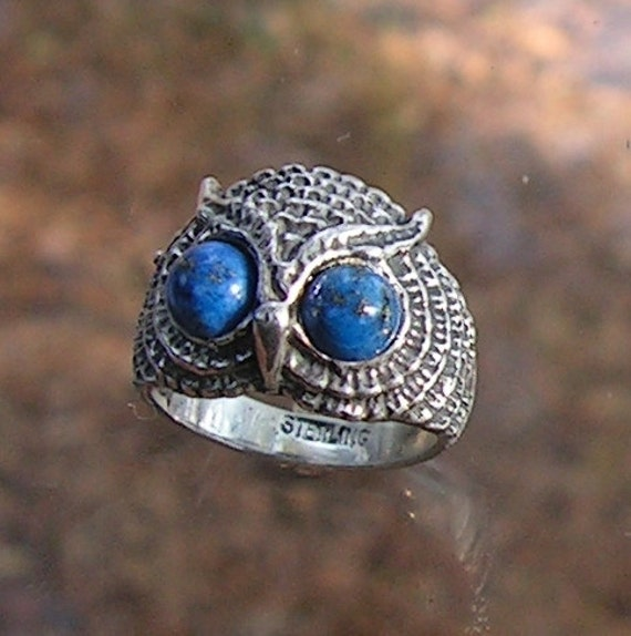 Owl Ring With Lapis Luzuli Eyes In Sterling Silver