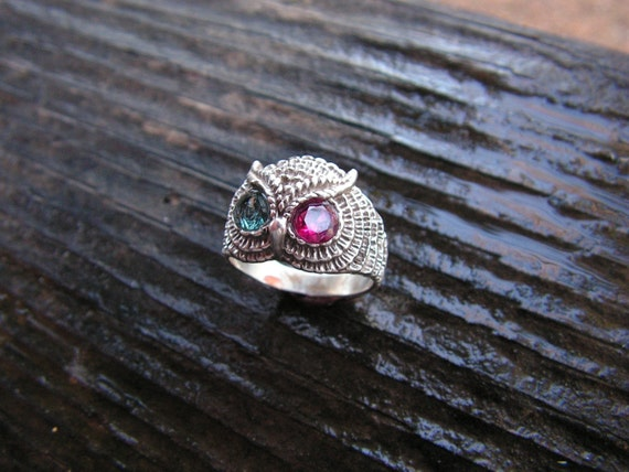 Owl Ring With Aquamarine And Ruby Eyes In Sterling Silver