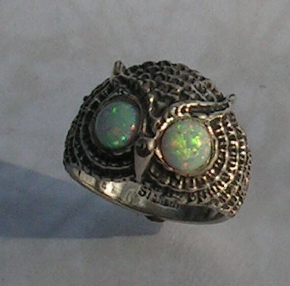 Owl Ring With Opal Eyes In Sterling Silver