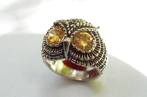 Owl Ring With Citrine Eyes in Sterling Silver