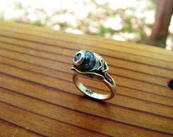 Sterling Silver Snail Ring With Aqua Aura
