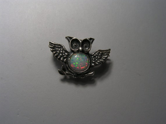 Owl Pin With Opal In Sterling Silver
