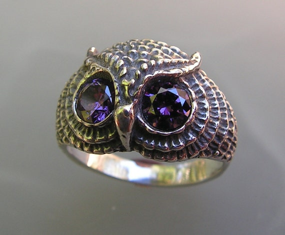 Owl Ring With Amethyst Eyes And Sterling Silver