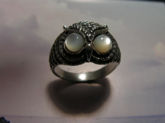 Owl Ring With Mother Of Pearl Eyes In Sterling Silver