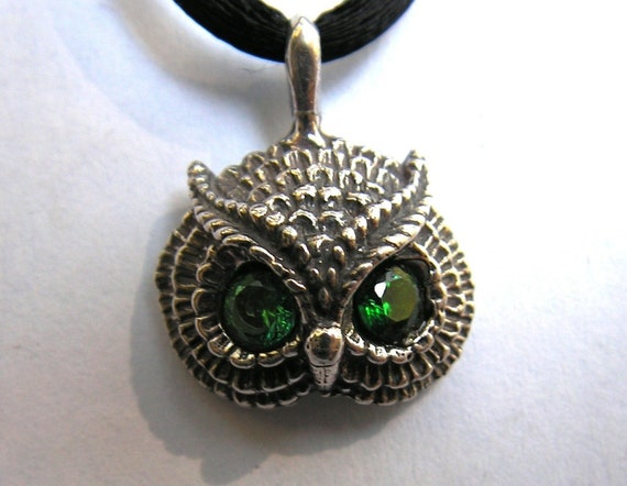 Owl Pendant With Emerald Eyes In Sterling Silver
