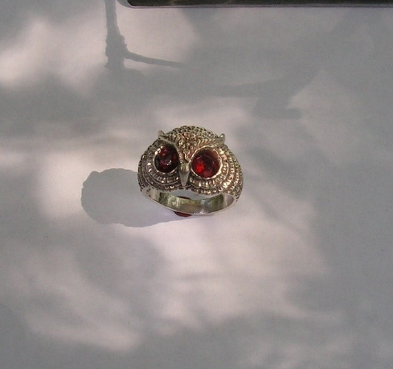 Owl Ring With Fire Citrine Eyes And Sterling Silver