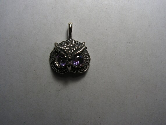 Owl Pendant With Alexandrite In Sterling Silver