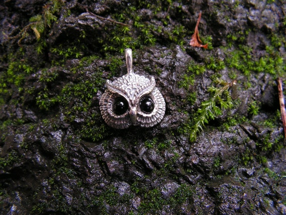 Owl Pendant With Black Onyx Eyes In Sterling Silver
