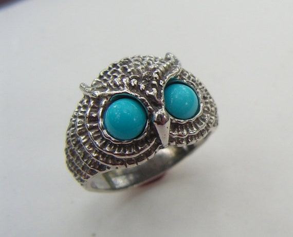 Owl Ring With Turquoise Eyes In Sterling Silver