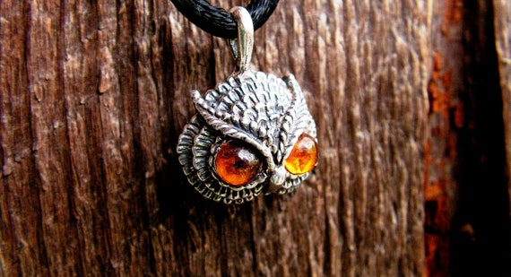 Owl Pendant With Amber Eyes In Sterling Silver