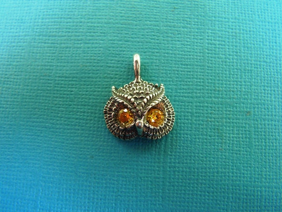 Owl Pendant With Citrine Eyes In Sterling Silver