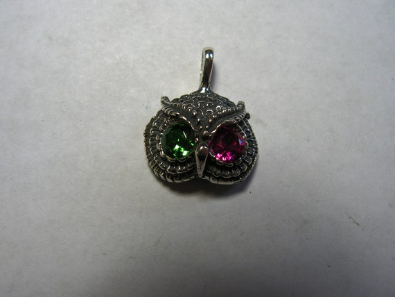 Owl Pendant With Ruby and Emerald in Sterling Silver