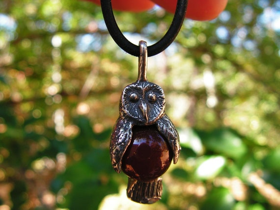 Barn Owl With Carnelian And Sterling Silver