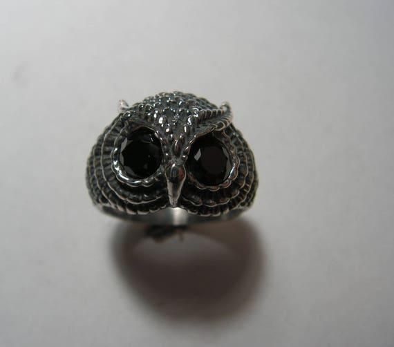 Owl Ring with Black Onyx in Sterling Silver