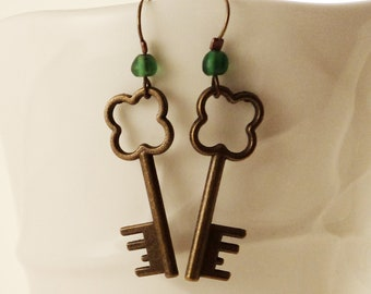 Lucky Clover Keys to my Heart - Bronze Key Charms and Green Sea Glass Bead Dangle Earrings