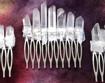 Raw Quartz Points Crystal Hair Comb