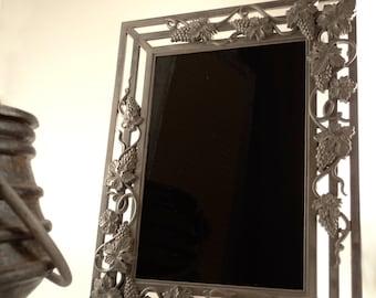 Vineyard Goddess Black Scrying Mirror with Pewter Grape Vines Frame